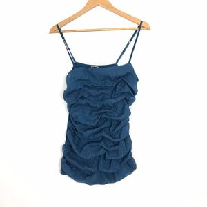 Express Ruffled Bubble Cami Top Blue Large Sparkly